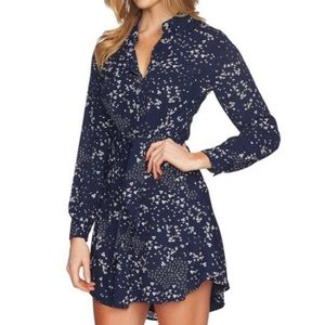 1. State tie front navy floral button down dress